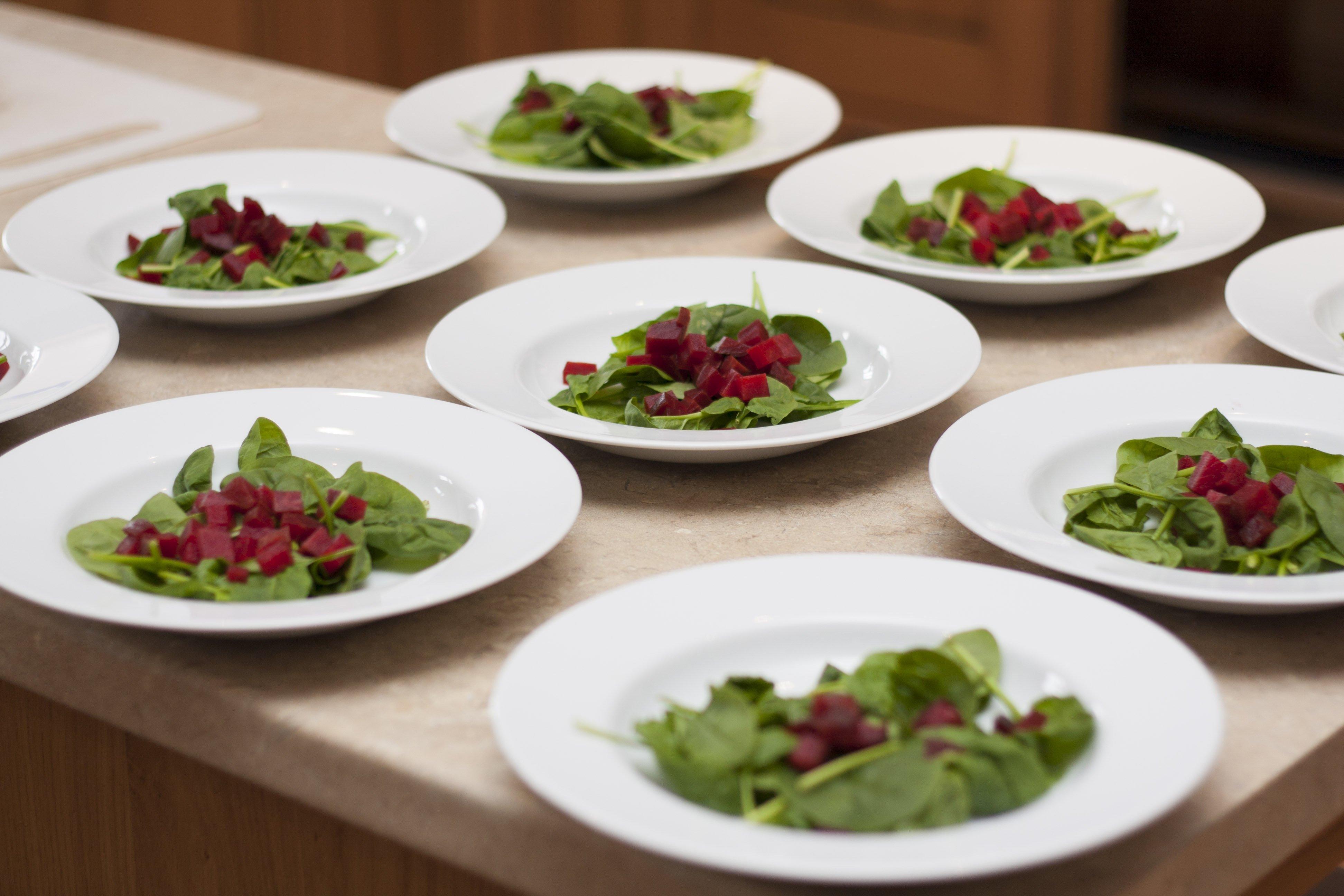 Delicious food on nine plates